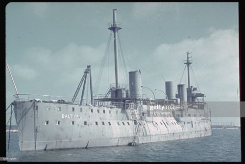 ORP Baltyk Polish cruiser Baltic at Gdynia during the time of the German invasion. Photo by Hugo Jaeger.jpg
